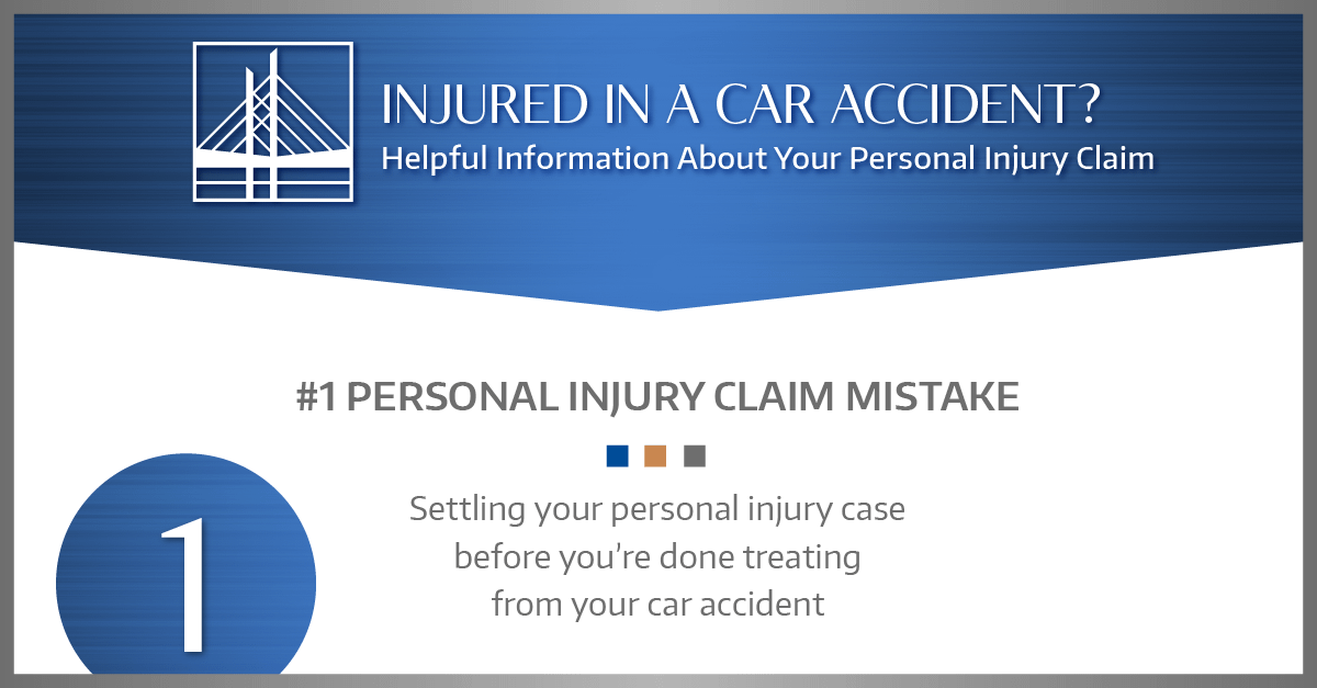 #1 MISTAKE: Settling your personal injury case before you're done treating from your car accident.